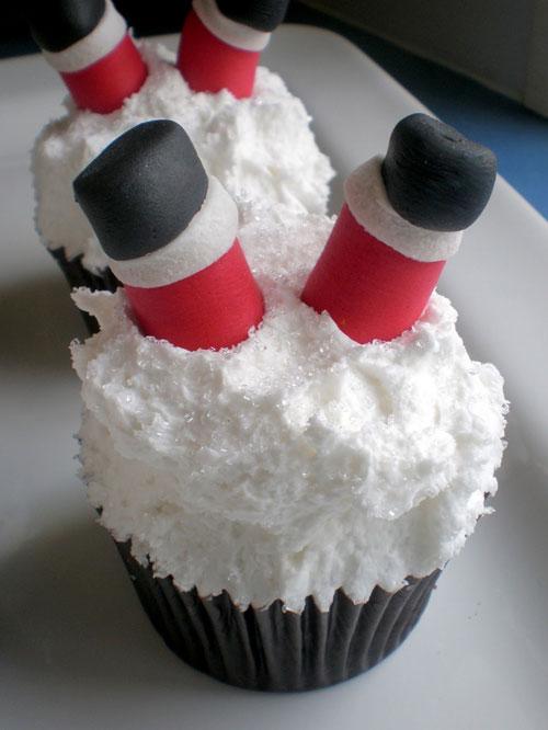 30+ Easy Christmas Cupcake Ideas - Santa's Legs Cupcake