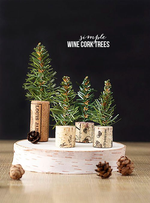36 Easy Christmas Crafts - Simple Wine Cork Trees