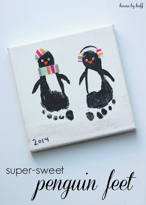 36 Easy Christmas Crafts - Super Sweet Penguin Feet