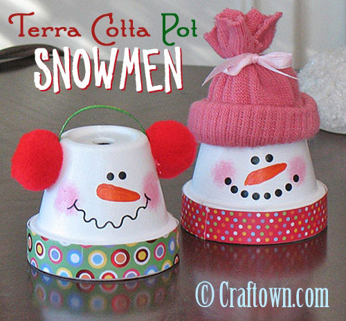 36 Easy Christmas Crafts - Terra Cotta Pot Snowmen