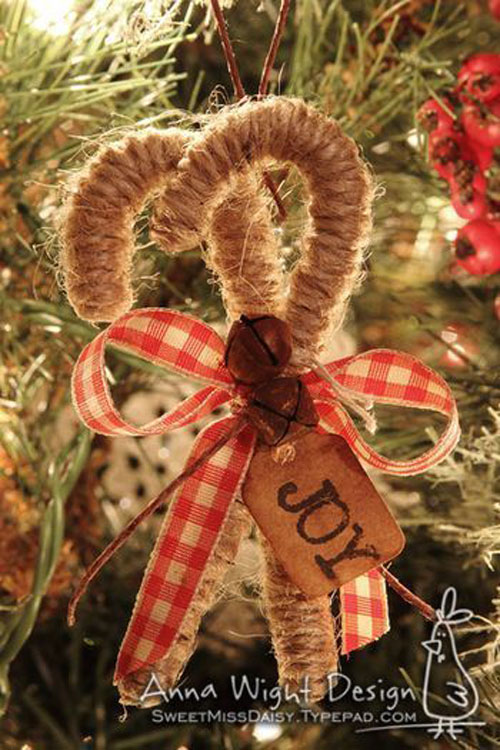 38 Handmade Christmas Ornaments - Twine Candy Canes
