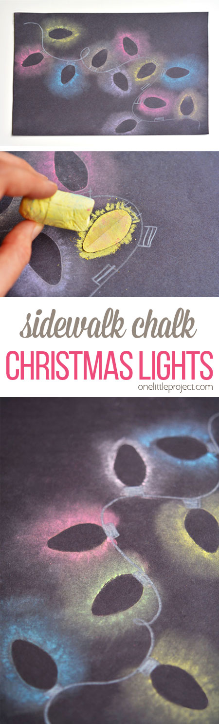 These stenciled sidewalk chalk Christmas lights are