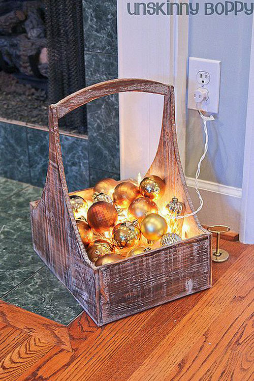 18 Clever Christmas Light Crafts - Christmas Ornament Basket