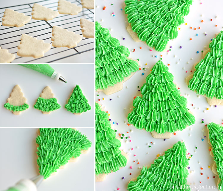 I LOVE the fir tree texture! Follow this easy piping method and then  decorate them. This sugar cookie ...