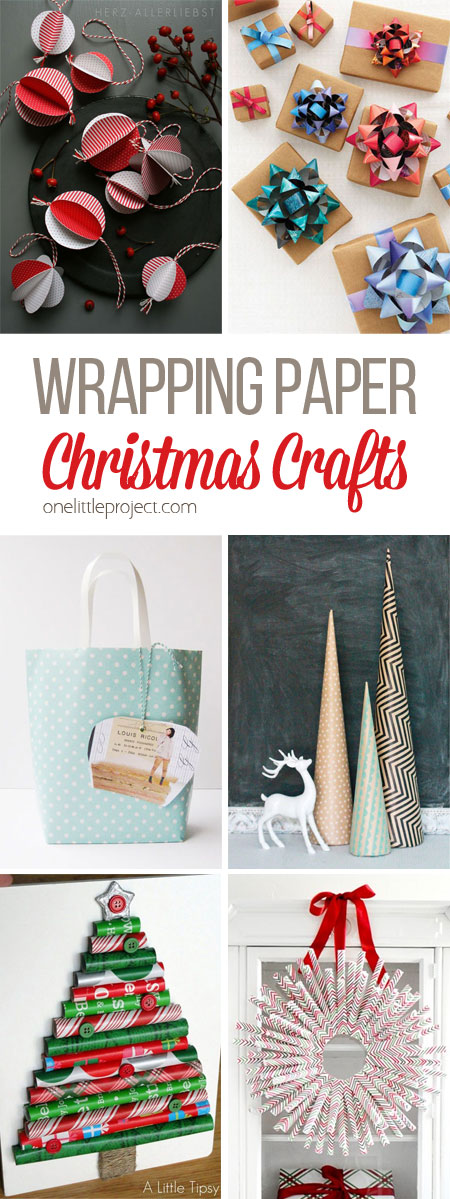 These wrapping paper Christmas crafts are PERFECT for those scraps of paper that are too big to throw away, but too small to wrap something! So many great ideas!