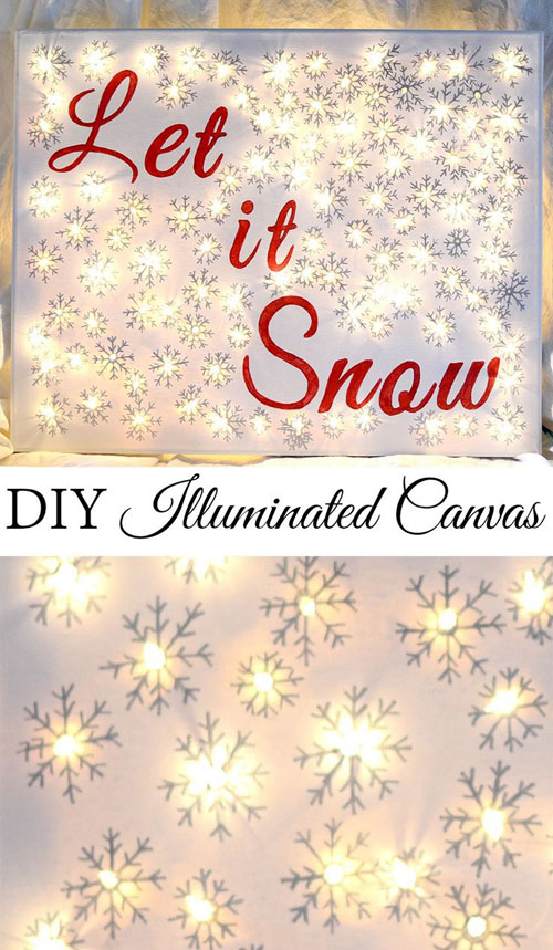 18 Clever Christmas Light Crafts - DIY Illuminated Canvas