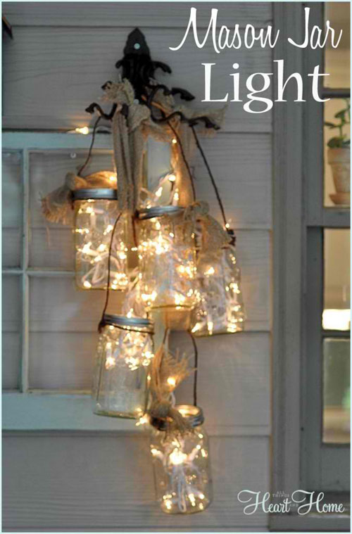 18 Clever Christmas Light Crafts - DIY Mason Jar Light