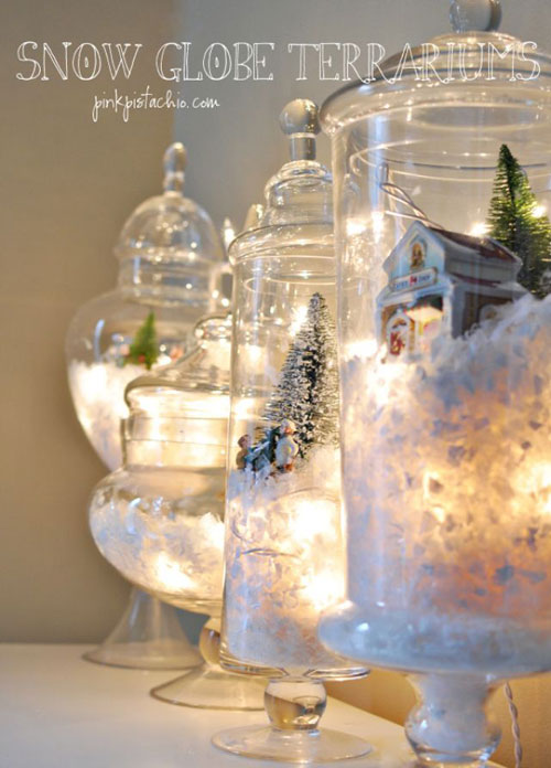 18 Clever Christmas Light Crafts - DIY Snow Globes with Christmas Lights