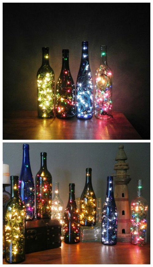 18 Clever Christmas Light Crafts - DIY Wine Bottle Lamps