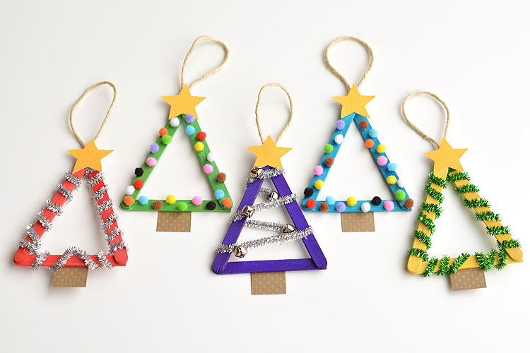 Popsicle stick christmas trees for Popsicle stick picture frame christmas
