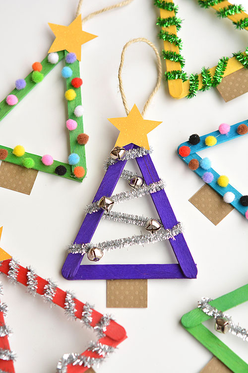 40+ Easy Christmas Crafts for Kids - Popsicle Stick Christmas Trees