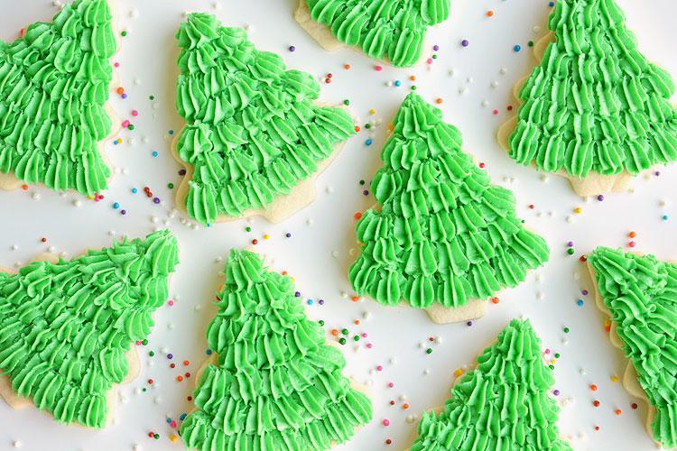 Frosting For Christmas Cookies.Christmas Tree Sugar Cookies
