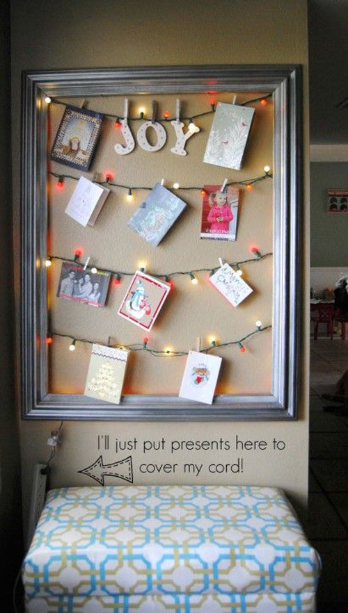 18 Clever Christmas Light Crafts - Framed Christmas Card Display
