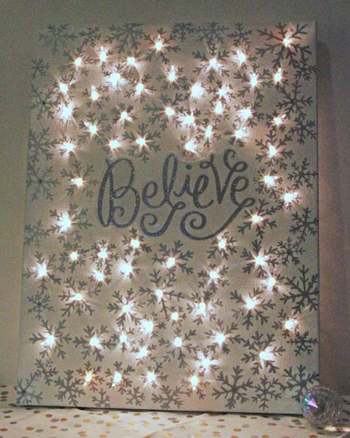 18 Clever Christmas Light Crafts - Lighted Christmas Canvas