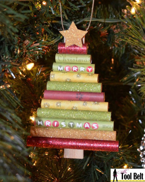 19 Christmas Wrapping Paper Crafts - Rolled Paper Christmas Tree Ornament