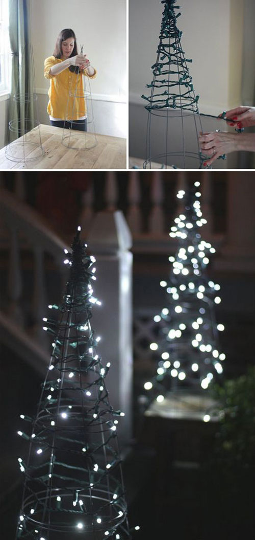 18 Clever Christmas Light Crafts - Tomato Cage Christmas Tree Lights