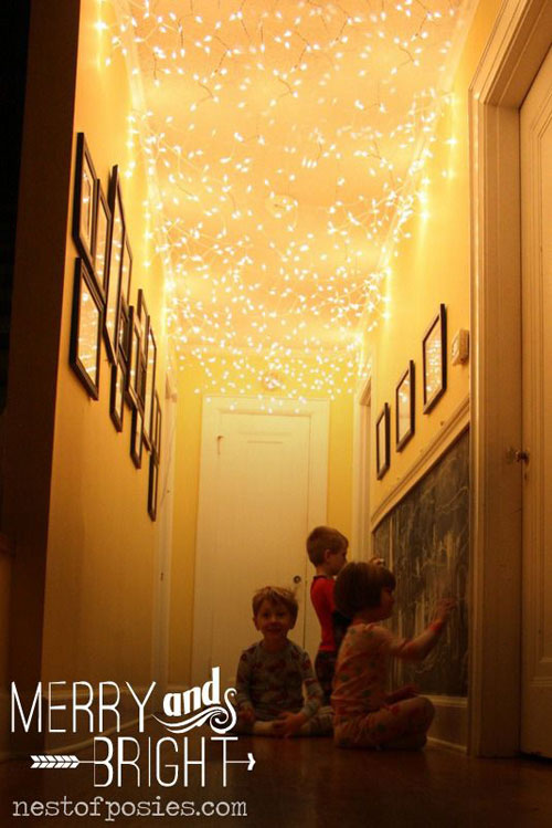 18 Clever Christmas Light Crafts - Twinkling Hallway Christmas Lights