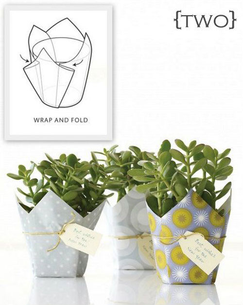 19 Christmas Wrapping Paper Crafts - Wrapped Potted Plants and Flowers Gift Ideas
