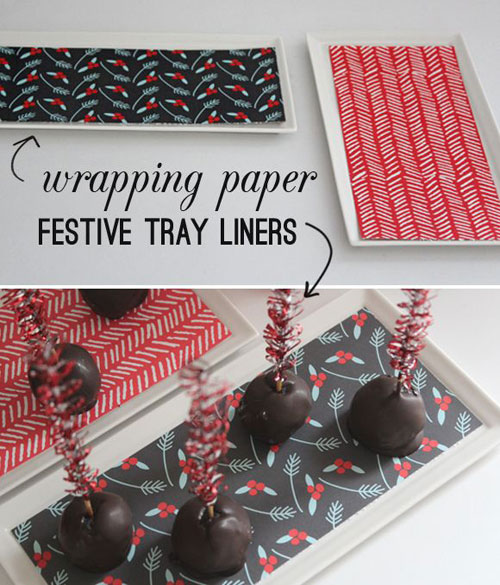 19 Christmas Wrapping Paper Crafts - Wrapping Paper Festive Tray Liner