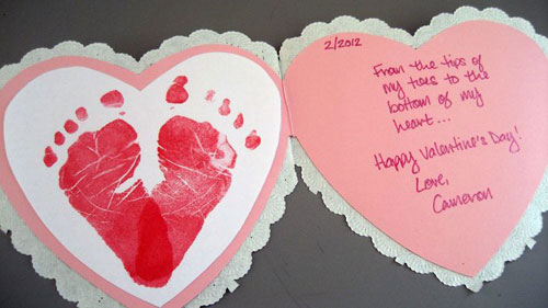 40+ Cute Valentine Ideas for Kids - Baby Footprints Heart Card