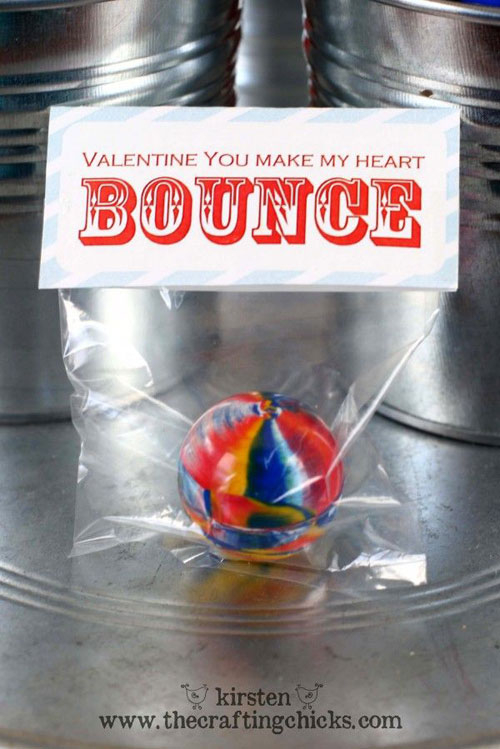 40+ Cute Valentine Ideas for Kids - Bouncy Ball Valentine