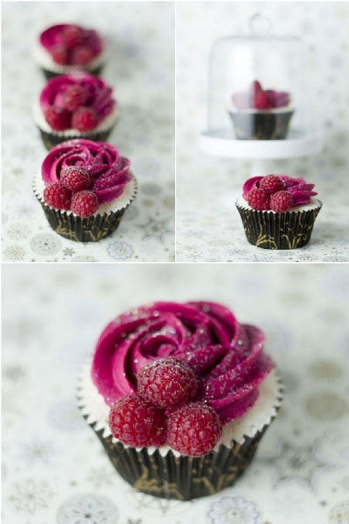35+ Valentine's Day Cupcake Ideas - Champagne and Raspberry Cupcakes