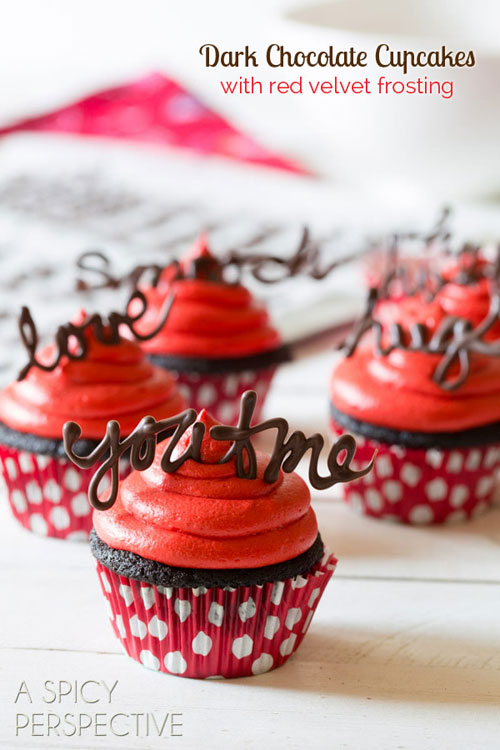 35+ Valentineu0027s Day Cupcake Ideas - Chocolate Cupcake Recipe with Red Velvet Frosting & 35+ Valentineu0027s Day Cupcake Ideas - One Little Project