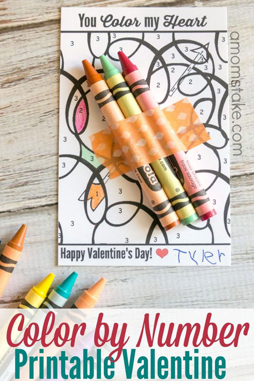 40+ Cute Valentine Ideas for Kids - Color by Number Printable Valentine