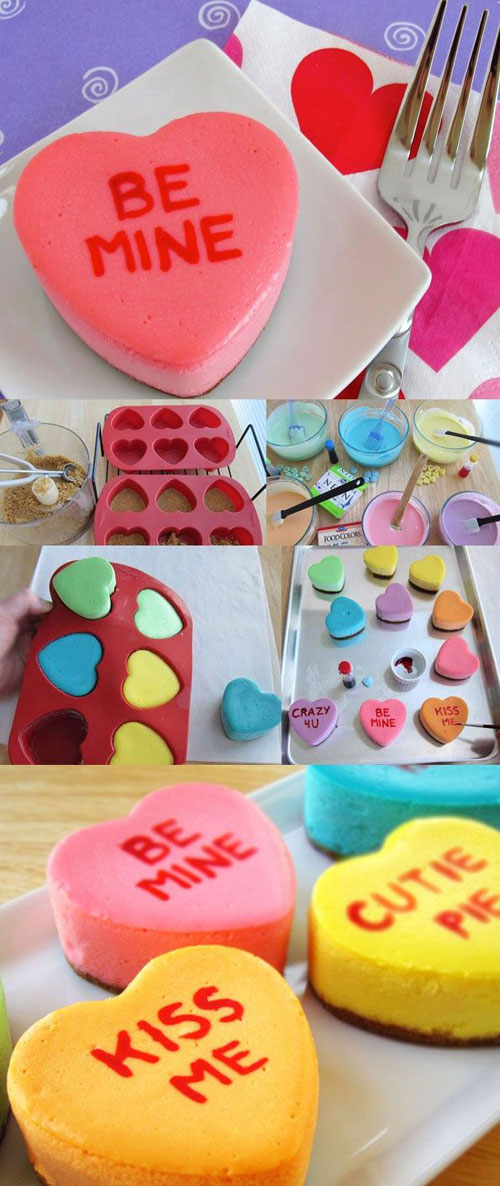 35+ Valentine's Day Cupcake Ideas - Conversation Heart Cheesecakes