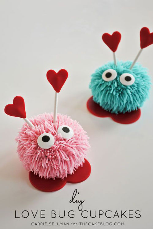 35+ Valentine's Day Cupcake Ideas - DIY Love Bug Cupcakes