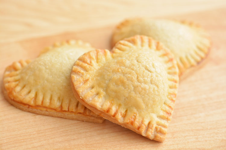 Heart shaped blueberry hand pies