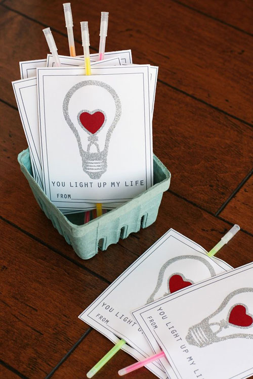 40+ Cute Valentine Ideas for Kids - Glow Sticks Valentine's Card