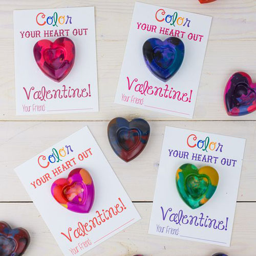 40+ Cute Valentine Ideas for Kids - Heart Shaped Crayons