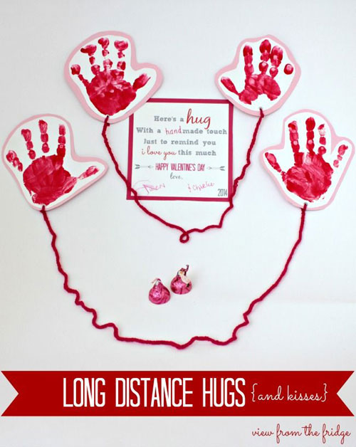 40+ Cute Valentine Ideas for Kids - Long Distance Hugs Valentine's Card