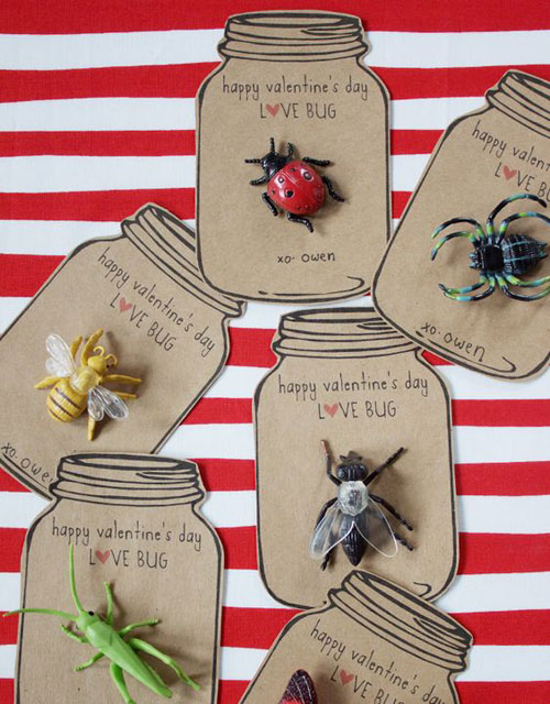 40+ Cute Valentine Ideas for Kids - Love Bug Valentine Printable