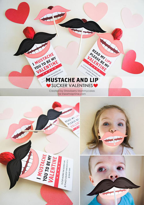 40+ Cute Valentine Ideas for Kids - Mustache and Lip Sucker Valentine's
