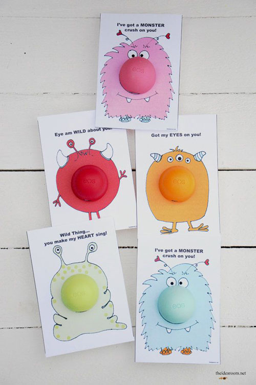40+ Cute Valentine Ideas for Kids - Printable EOS Monster Valentine