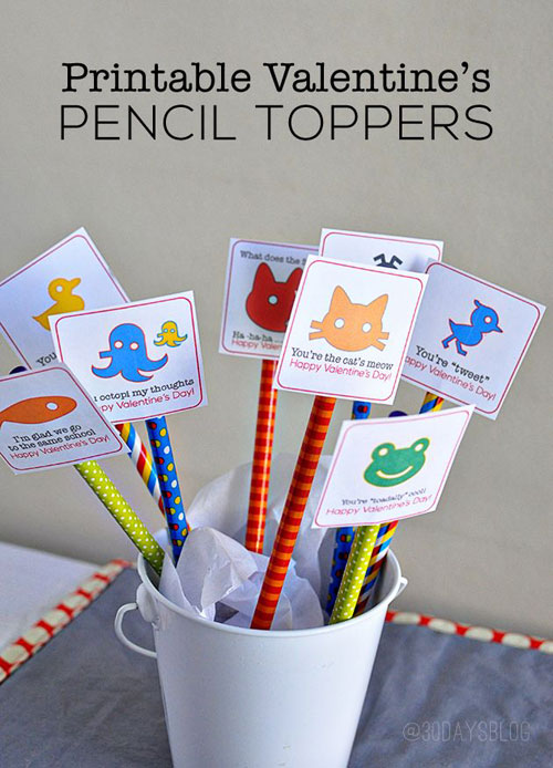 40+ Cute Valentine Ideas for Kids - Printable Valentine's Pencil Toppers