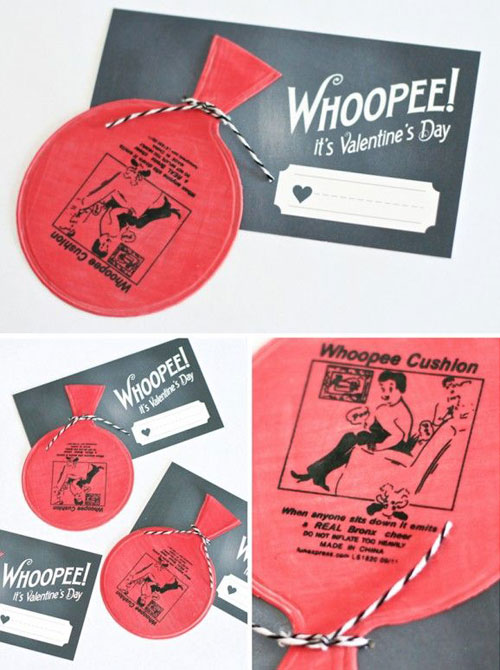 40+ Cute Valentine Ideas for Kids - Printable Whoopee Cushion Valentine