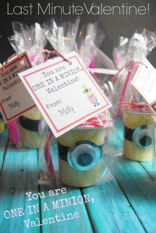 40+ Cute Valentine Ideas for Kids - Pudding Cup Minion Valentine's