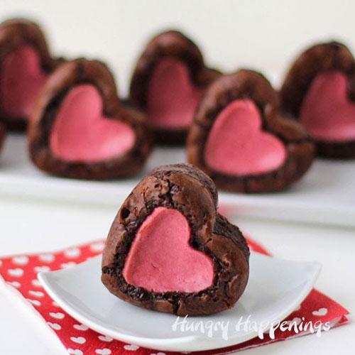 44 Sweet Valentine's Day Treats - Raspberry Cheesecake Stuffed Brownie Hearts