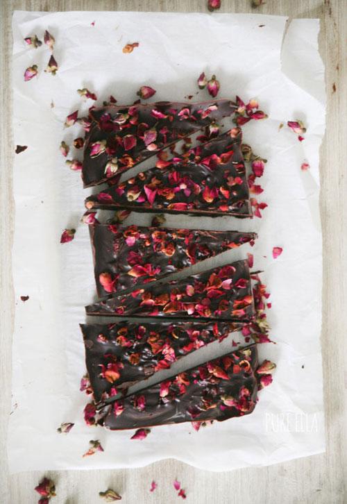 44 Sweet Valentine's Day Treats - Rose Petal Dark Chocolate Bar