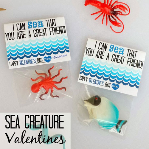 40+ Cute Valentine Ideas for Kids - Sea Creature Valentines