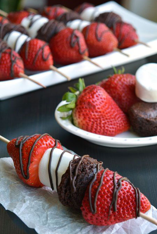 44 Sweet Valentine's Day Treats - Strawberry Brownie Skewers