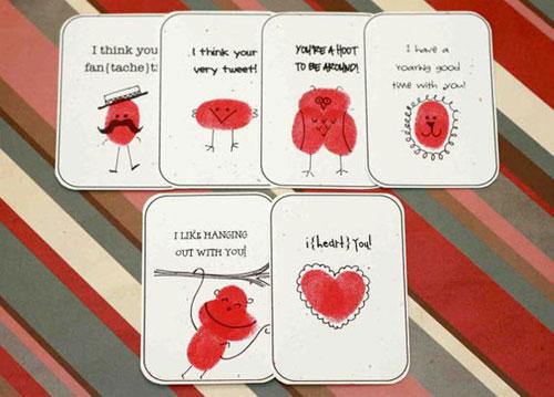 40+ Cute Valentine Ideas for Kids - Thumb Art Valentine's Card