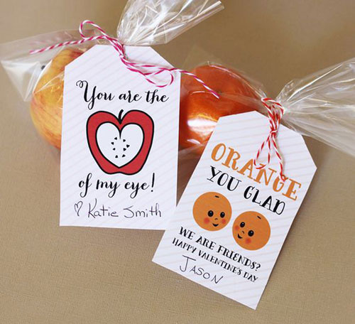 40+ Cute Valentine Ideas for Kids - Valentine Fruit Tags