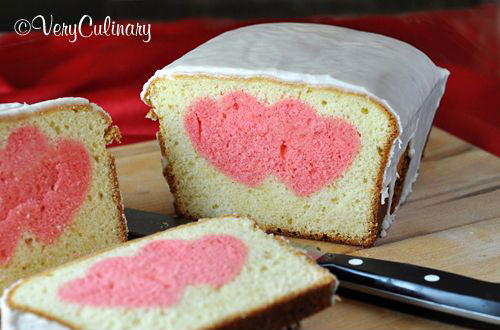 44 Sweet Valentine's Day Treats - Valentine's Day Peek A Boo Pound Cake