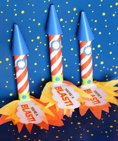 40+ Cute Valentine Ideas for Kids - Valentine's Rocket Favors
