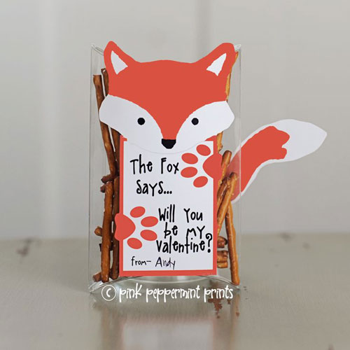 40+ Cute Valentine Ideas for Kids - What Does The Fox Say Valentine's Printable