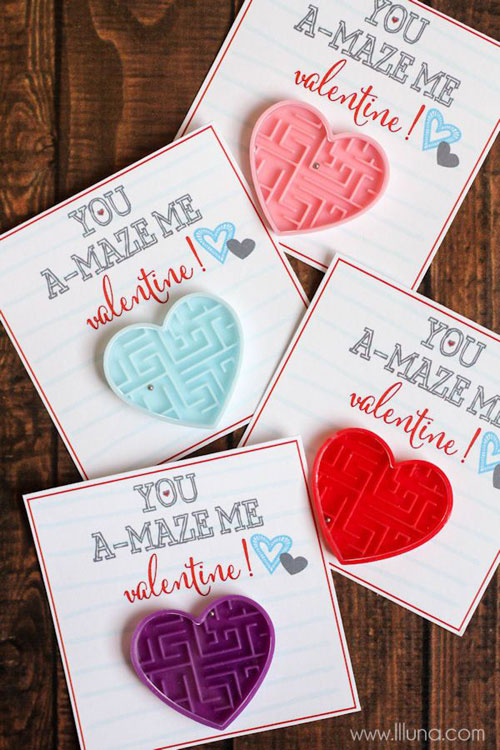 40+ Cute Valentine Ideas for Kids - You A-Maze-Me Valentine's Card
